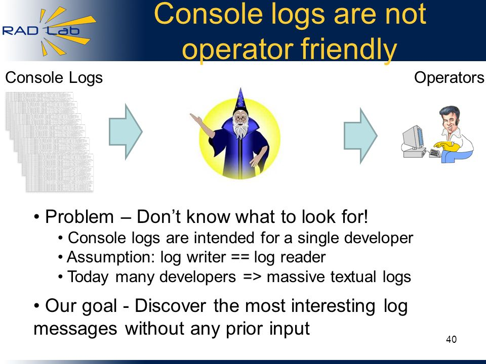 Console logs are not operator friendly 40 Console LogsOperators Problem – Dont know what to look for! Console logs are intended for a single developer