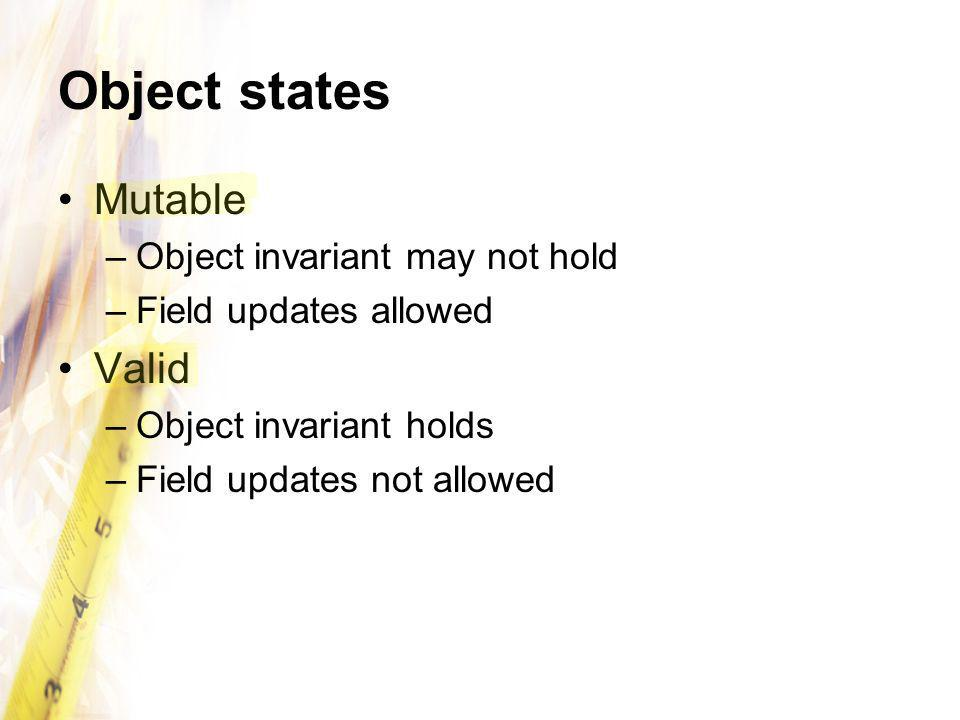 Object states Mutable –Object invariant may not hold –Field updates allowed Valid –Object invariant holds –Field updates not allowed