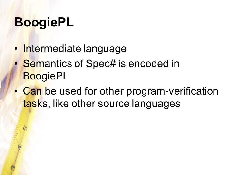 BoogiePL Intermediate language Semantics of Spec# is encoded in BoogiePL Can be used for other program-verification tasks, like other source languages