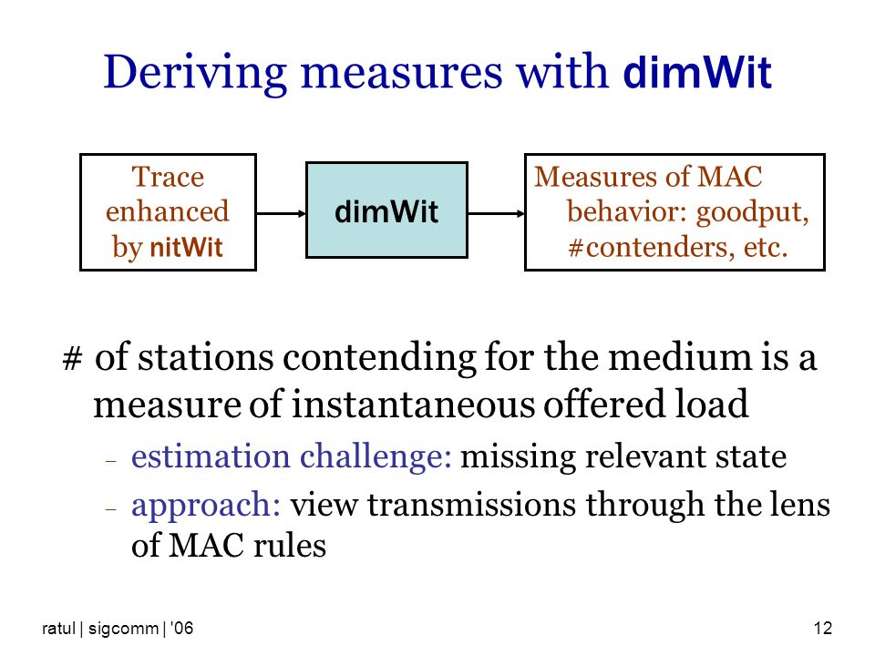 ratul | sigcomm | 0612 Deriving measures with dimWit # of stations contending for the medium is a measure of instantaneous offered load estimation challenge: missing relevant state approach: view transmissions through the lens of MAC rules dimWit Trace enhanced by nitWit Measures of MAC behavior: goodput, #contenders, etc.