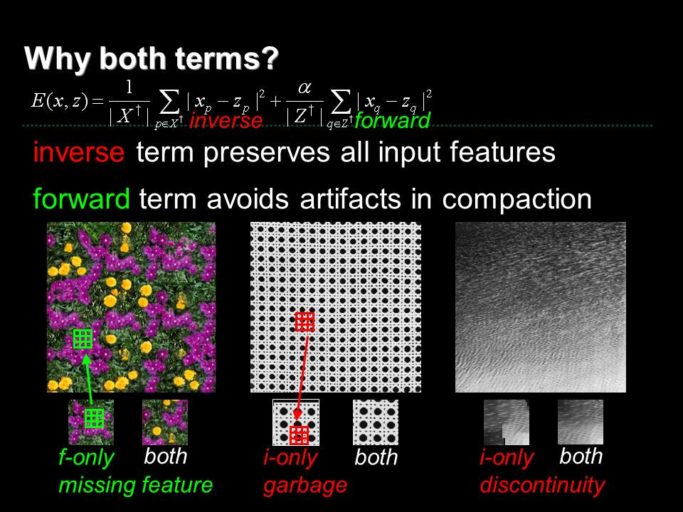 Why both terms? inverse term preserves all input features forward term avoids artifacts in compaction inverse f-only missing feature forward both i-on