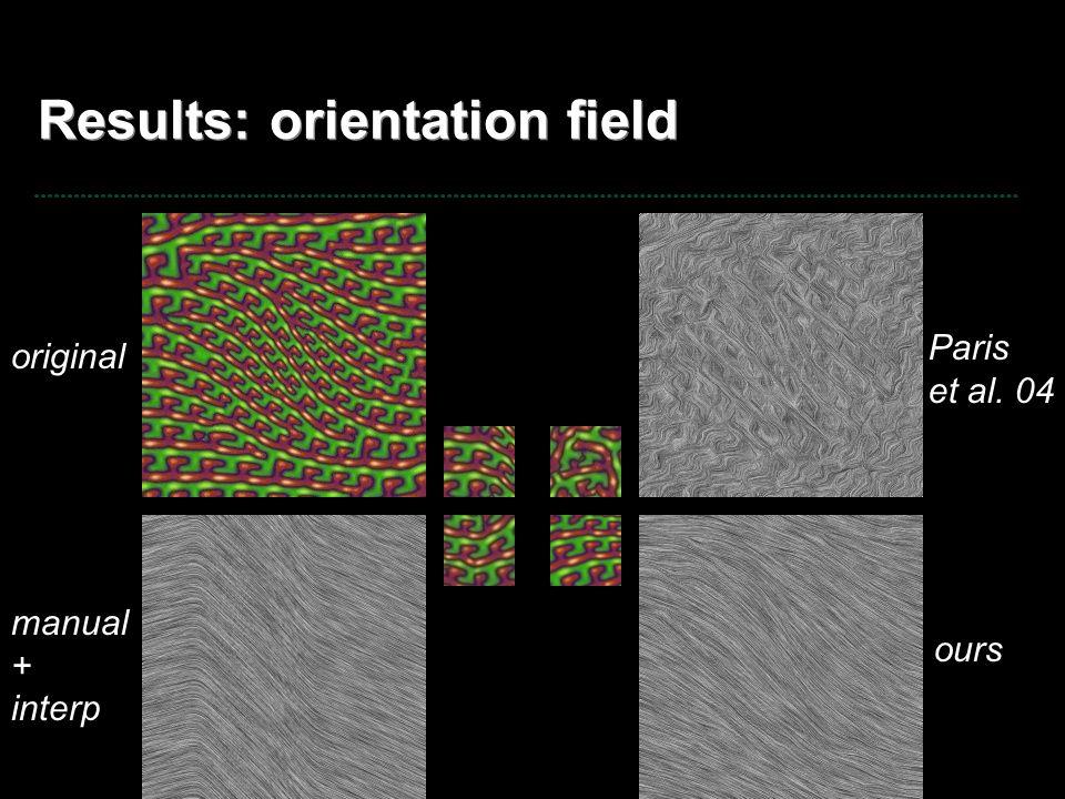 Results: orientation field original ours Paris et al. 04 manual + interp