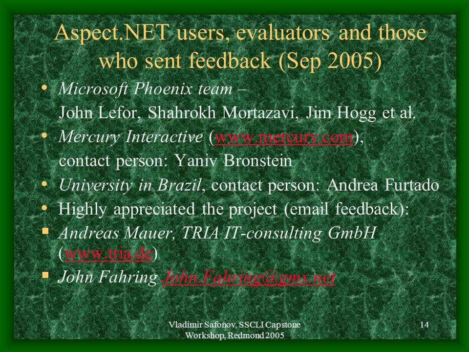 Vladimir Safonov, SSCLI Capstone Workshop, Redmond 2005 14 Aspect.NET users, evaluators and those who sent feedback (Sep 2005) Microsoft Phoenix team