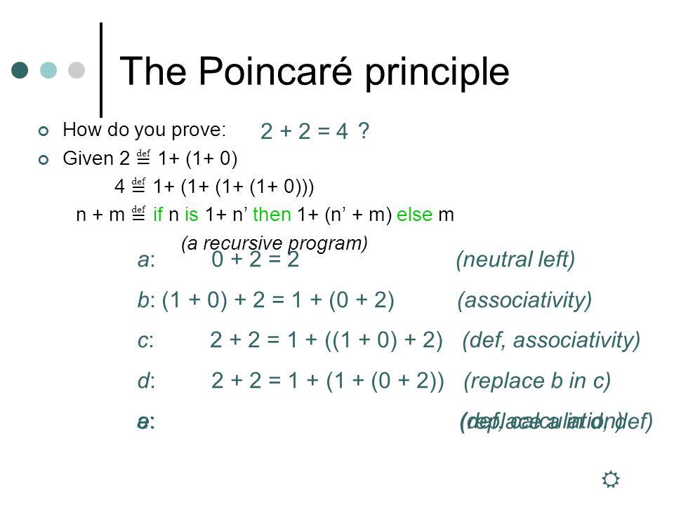 The Poincaré principle How do you prove: Given 2 1+ (1+ 0) 4 1+ (1+ (1+ (1+ 0))) n + m if n is 1+ n then 1+ (n + m) else m (a recursive program) 2 + 2 = 4 .