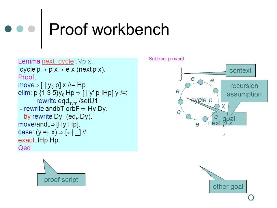 1 subgoal d : dataSet e : rel d ============================ forall (p : seq d) (x : d), cycle p -> p x -> e x (next p x) 1 subgoal d : dataSet e : rel d y0 : d p : seq d x : d Hp : path y0 (add_last p y0) ============================ setU1 y0 p x -> e x (next_at x y0 y0 p) 2 subgoals d : dataSet e : rel d y0 : d x : d y : d ============================ e y y0 && true -> (y =d x) || false -> e x (if y =d x then y0 else x) subgoal 2 is: e y y && path y (add_last p y0) -> or3b (y =d x) (y =d x) (p x) -> e x (if y =d x then y else next_at x y0 y p) 2 subgoals d : dataSet e : rel d y0 : d x : d y : d Hy : e y y0 Dy : y =d x ============================ e x (if y =d x then y0 else x) subgoal 2 is: e y y && path y (add_last p y0) -> or3b (y =d x) (y =d x) (p x) -> e x (if y =d x then y else next_at x y0 y p) 1 subgoal d : dataSet e : rel d y0 : d x : d y : d p : seq d IHp : forall x0 : d, path x0 (add_last p y0) -> setU1 x0 p x -> e x (next_at x y0 x0 p) y : d ============================ e y y && path y (add_last p y0) -> or3b (y =d x) (y =d x) (p x) -> e x (if y =d x then y else next_at x y0 y p) 1 subgoal d : dataSet e : rel d y0 : d x : d y : d p : seq d IHp : forall x0 : d, path x0 (add_last p y0) -> setU1 x0 p x -> e x (next_at x y0 x0 p) y : d Hy : e y y Hp : path y (add_last p y0) ============================ or3b (y =d x) (y =d x) (p x) -> e x (if y =d x then y else next_at x y0 y p) 1 subgoal d : dataSet e : rel d y0 : d x : d y : d p : seq d IHp : forall x0 : d, path x0 (add_last p y0) -> setU1 x0 p x -> e x (next_at x y0 x0 p) y : d Hy : e y y Hp : path y (add_last p y0) ============================ or3b false (y =d x) (p x) -> e x (next_at x y0 y p) Subtree proved.