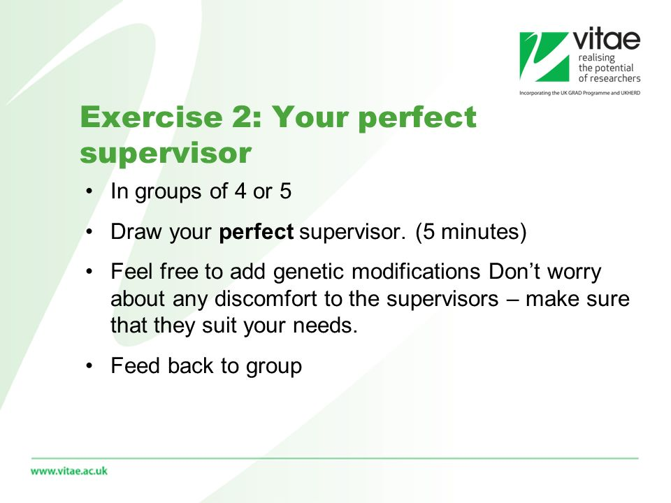 In groups of 4 or 5 Draw your perfect supervisor.