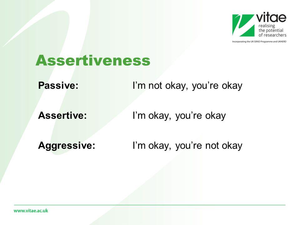 Assertiveness Passive: Im not okay, youre okay Assertive: Im okay, youre okay Aggressive: Im okay, youre not okay