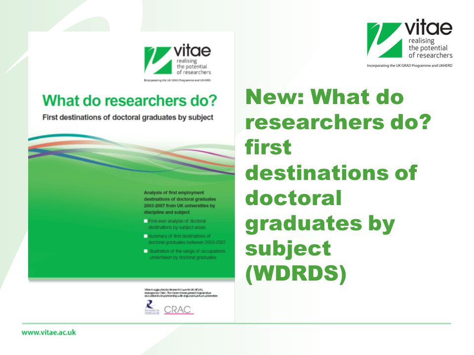 New: What do researchers do? first destinations of doctoral graduates by subject (WDRDS)