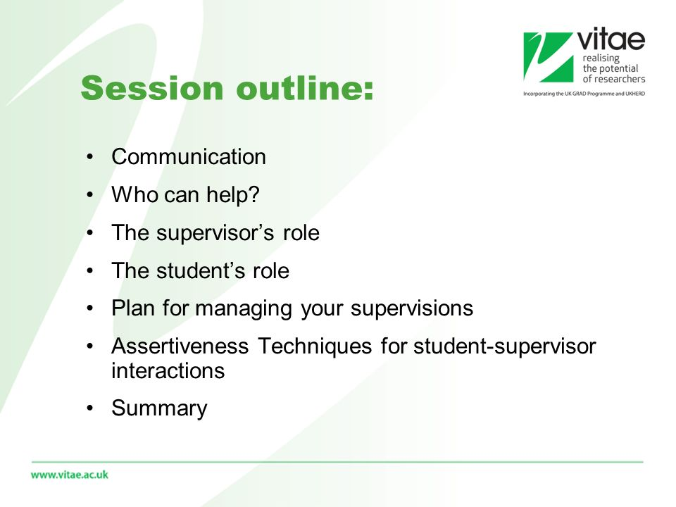 Session outline: Communication Who can help.