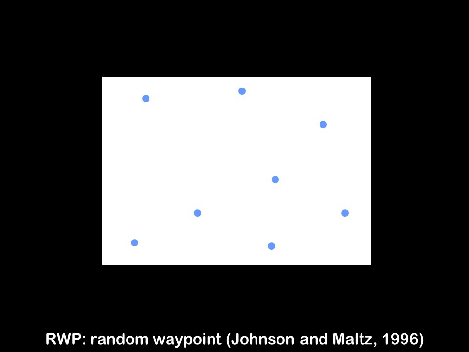 3 RWP: random waypoint (Johnson and Maltz, 1996)