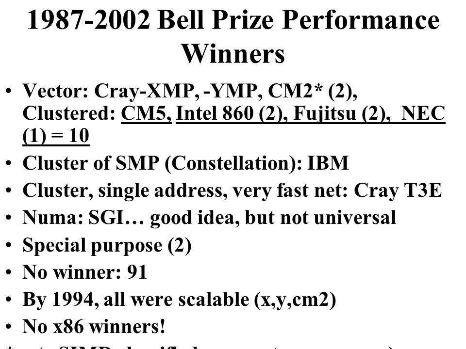 1987-2002 Bell Prize Performance Winners Vector: Cray-XMP, -YMP, CM2* (2), Clustered: CM5, Intel 860 (2), Fujitsu (2), NEC (1) = 10 Cluster of SMP (Constellation): IBM Cluster, single address, very fast net: Cray T3E Numa: SGI… good idea, but not universal Special purpose (2) No winner: 91 By 1994, all were scalable (x,y,cm2) No x86 winners.
