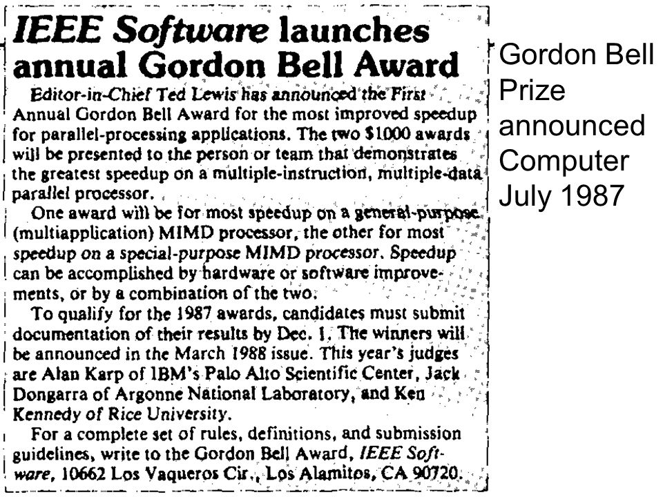 Gordon Bell Prize announced Computer July 1987