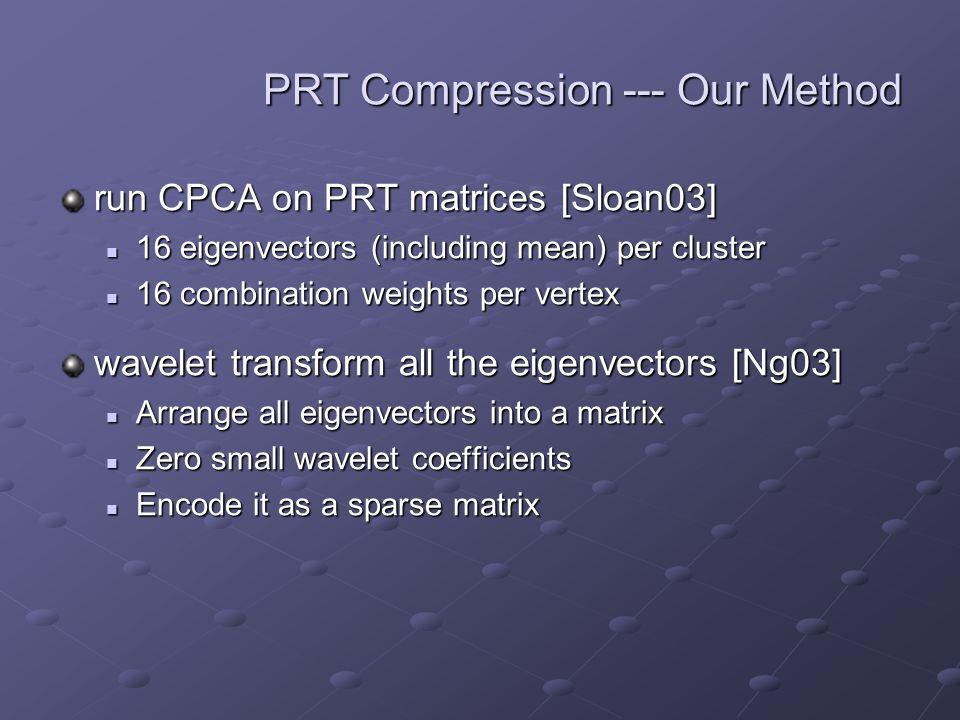 PRT Compression --- Our Method run CPCA on PRT matrices [Sloan03] 16 eigenvectors (including mean) per cluster 16 eigenvectors (including mean) per cluster 16 combination weights per vertex 16 combination weights per vertex wavelet transform all the eigenvectors [Ng03] Arrange all eigenvectors into a matrix Arrange all eigenvectors into a matrix Zero small wavelet coefficients Zero small wavelet coefficients Encode it as a sparse matrix Encode it as a sparse matrix