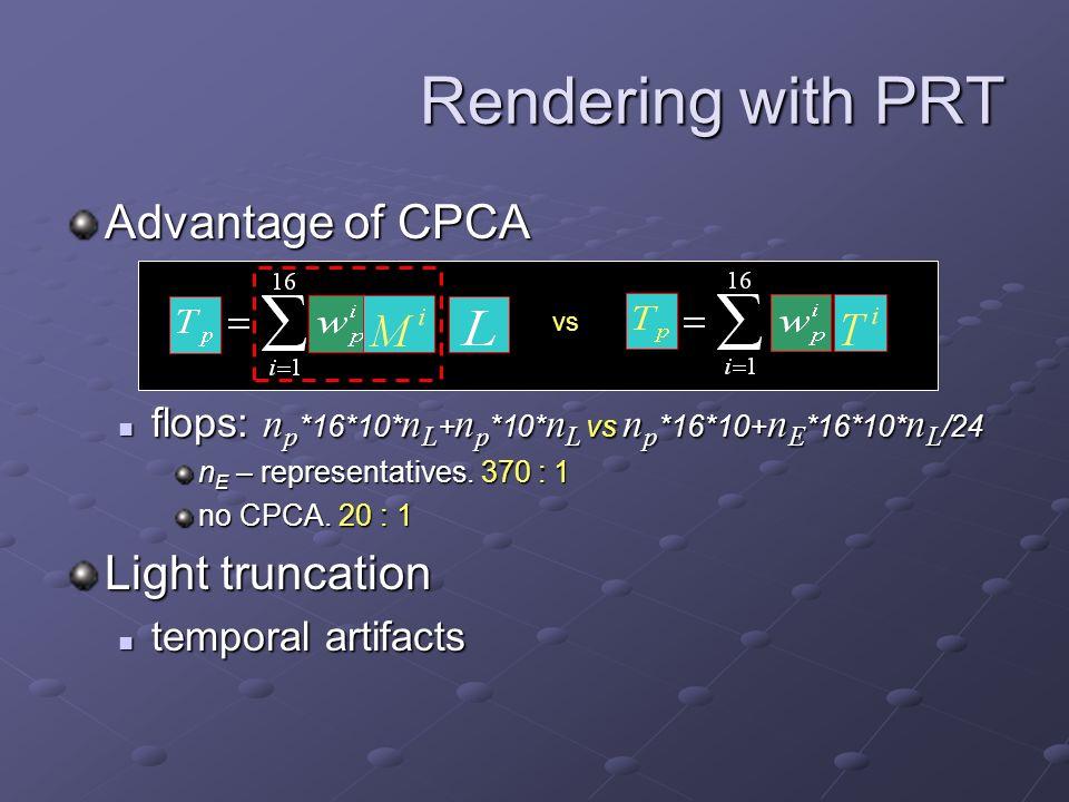 Advantage of CPCA flops: n p *16*10* n L + n p *10* n L vs n p *16*10+ n E *16*10* n L /24 flops: n p *16*10* n L + n p *10* n L vs n p *16*10+ n E *16*10* n L /24 n E – representatives.