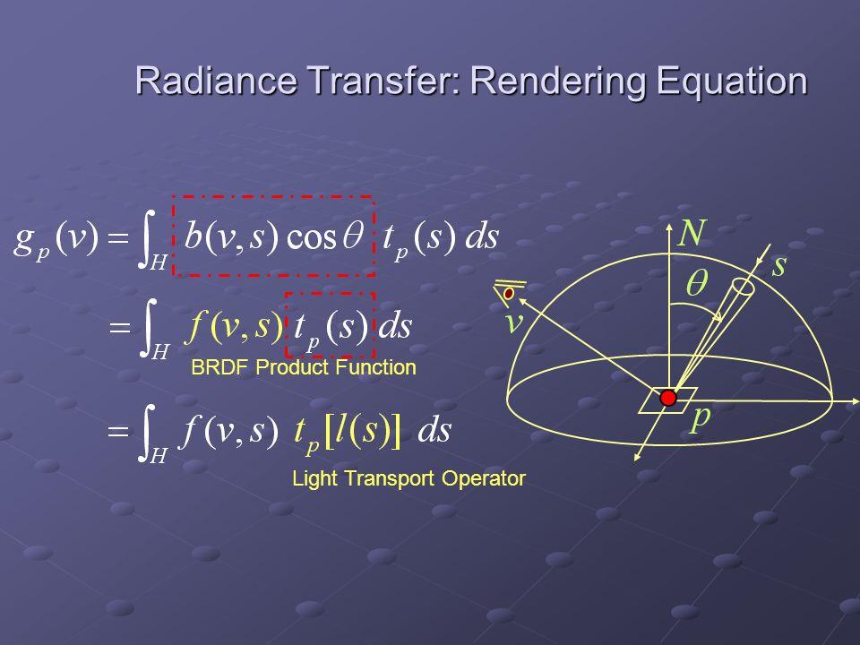 Radiance Transfer: Rendering Equation BRDF Product Function Light Transport Operator