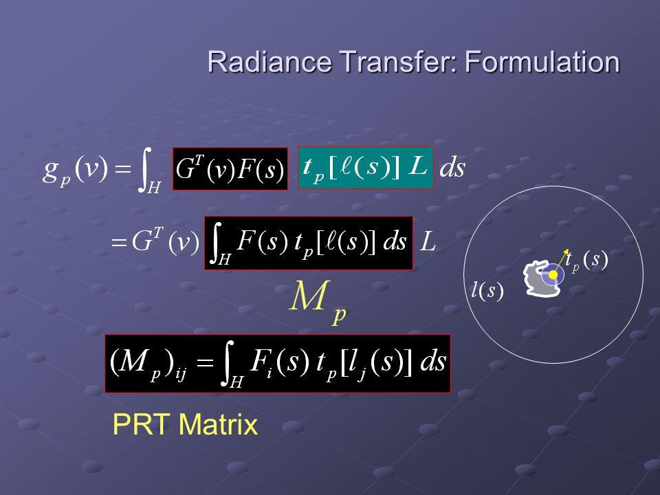 Radiance Transfer: Formulation PRT Matrix