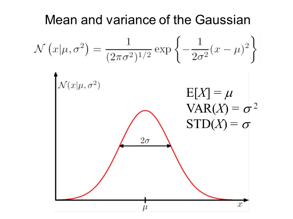 Mean and variance of the Gaussian E[X] = VAR(X) = 2 STD(X) =
