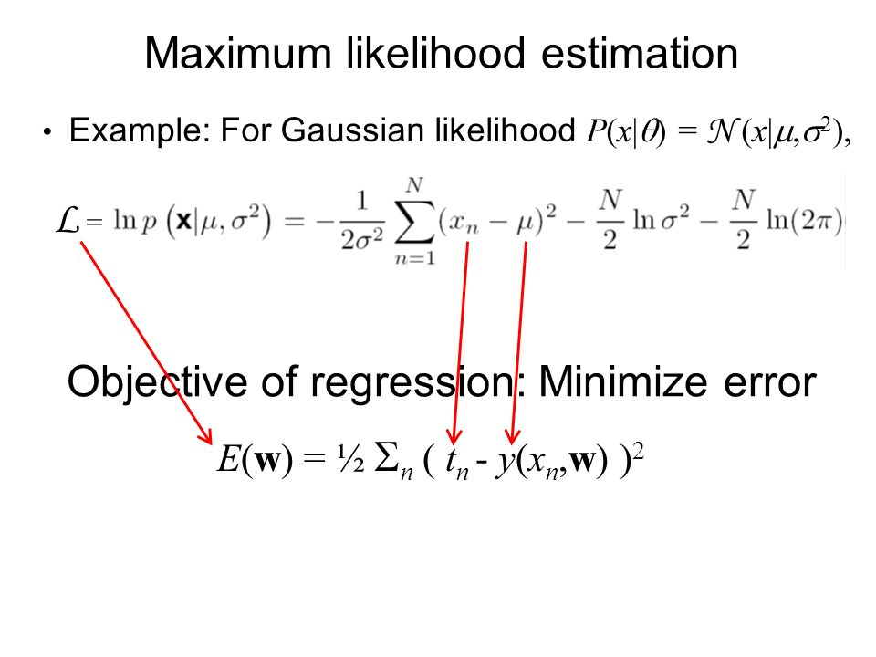 Maximum likelihood estimation L = Example: For Gaussian likelihood P(x| ) = N (x|, 2 ), Objective of regression: Minimize error E(w) = ½ n ( t n - y(x n,w) ) 2
