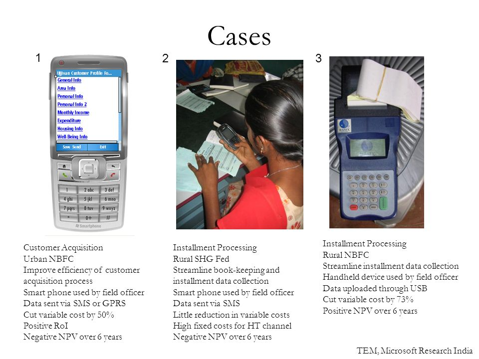 Cases Customer Acquisition Urban NBFC Improve efficiency of customer acquisition process Smart phone used by field officer Data sent via SMS or GPRS Cut variable cost by 50% Positive RoI Negative NPV over 6 years Installment Processing Rural SHG Fed Streamline book-keeping and installment data collection Smart phone used by field officer Data sent via SMS Little reduction in variable costs High fixed costs for HT channel Negative NPV over 6 years Installment Processing Rural NBFC Streamline installment data collection Handheld device used by field officer Data uploaded through USB Cut variable cost by 73% Positive NPV over 6 years 1 23 TEM, Microsoft Research India
