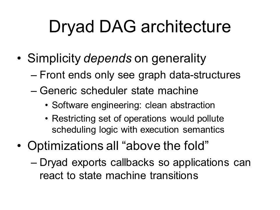 Dryad DAG architecture Simplicity depends on generality –Front ends only see graph data-structures –Generic scheduler state machine Software engineeri