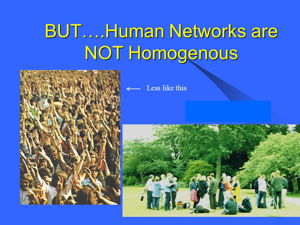 BUT….Human Networks are NOT Homogenous Less like this …..and more like this