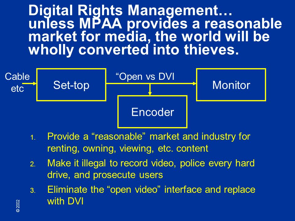 © 2002 Digital Rights Management… unless MPAA provides a reasonable market for media, the world will be wholly converted into thieves.