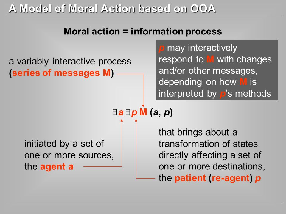 Moral action = information process a p M (a, p) initiated by a set of one or more sources, the agent a a variably interactive process (series of messa