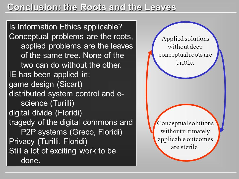Conclusion: the Roots and the Leaves Is Information Ethics applicable.