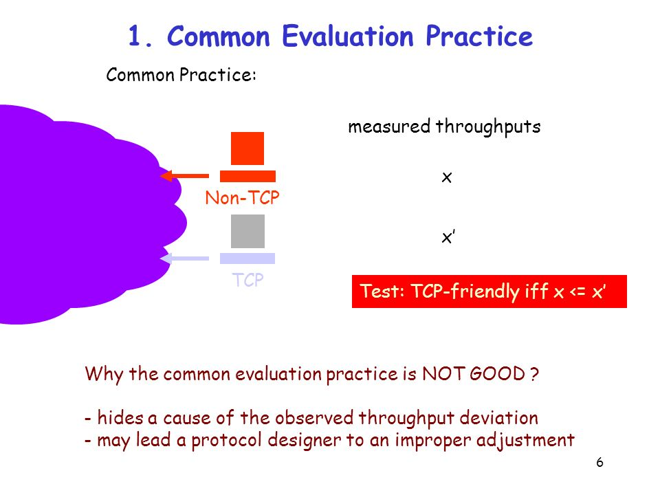 6 1. Common Evaluation Practice Non-TCP Common Practice: TCP Why the common evaluation practice is NOT GOOD ? - hides a cause of the observed throughp