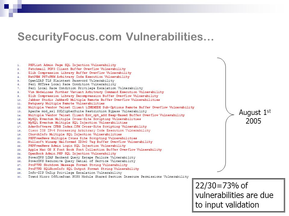 Input Validation in Web Apps Lack of input validation: #1 source of security errors Buffer overruns One of the most notorious Occurs in C/C++ programs Common in server-side daemons Web applications are a common attack target Easily accessible to attackers, especially on public sites Java – common development language Many large apps written in Java Modern language – no buffer overruns But can still have input validation vulnerabilities