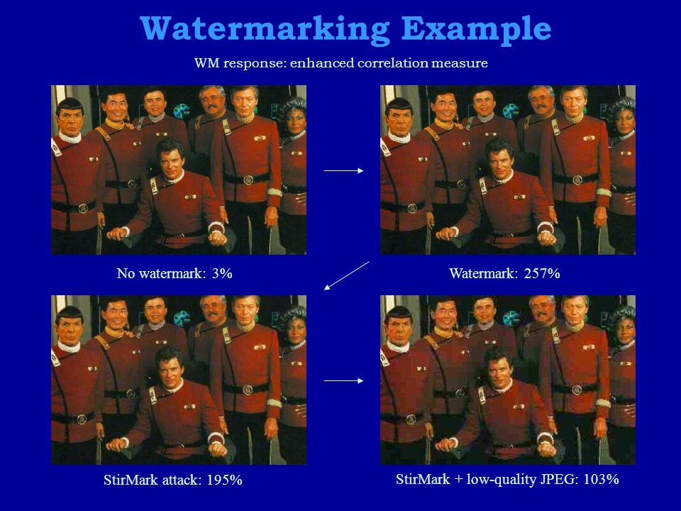 Watermarking Example No watermark: 3%Watermark: 257% StirMark attack: 195% StirMark + low-quality JPEG: 103% WM response: enhanced correlation measure
