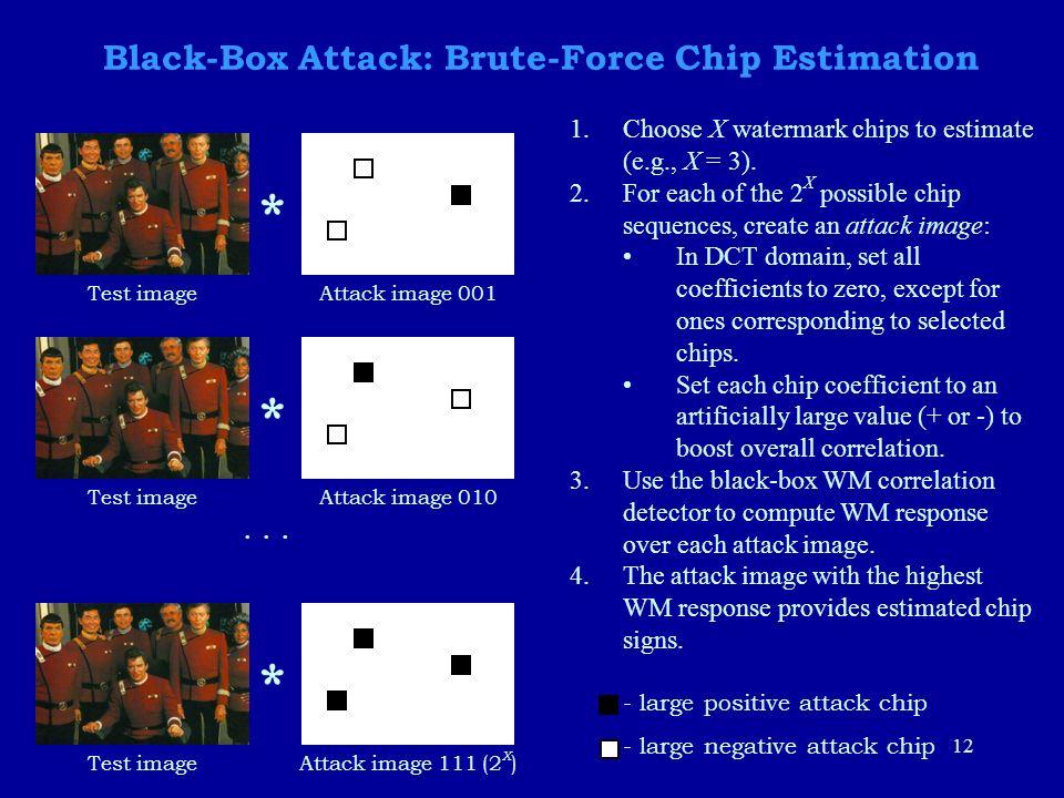 12 Black-Box Attack: Brute-Force Chip Estimation Attack image 001Test image * Attack image 010Test image * Attack image 111 (2 X )Test image *...
