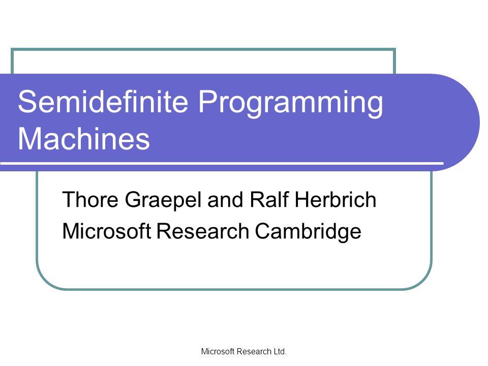 Microsoft Research Ltd.SVM as a Quadratic Program Given: A sample ((x 1,y 1 ),…,(x m,y m )).