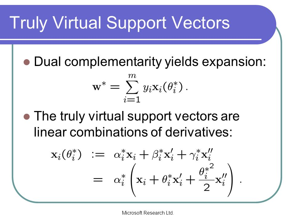 Microsoft Research Ltd. Truly Virtual Support Vectors Dual complementarity yields expansion: The truly virtual support vectors are linear combinations