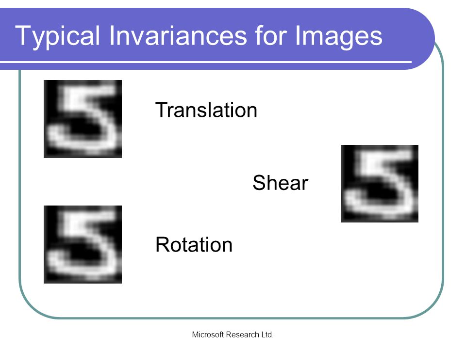Microsoft Research Ltd. Typical Invariances for Images Translation Rotation Shear