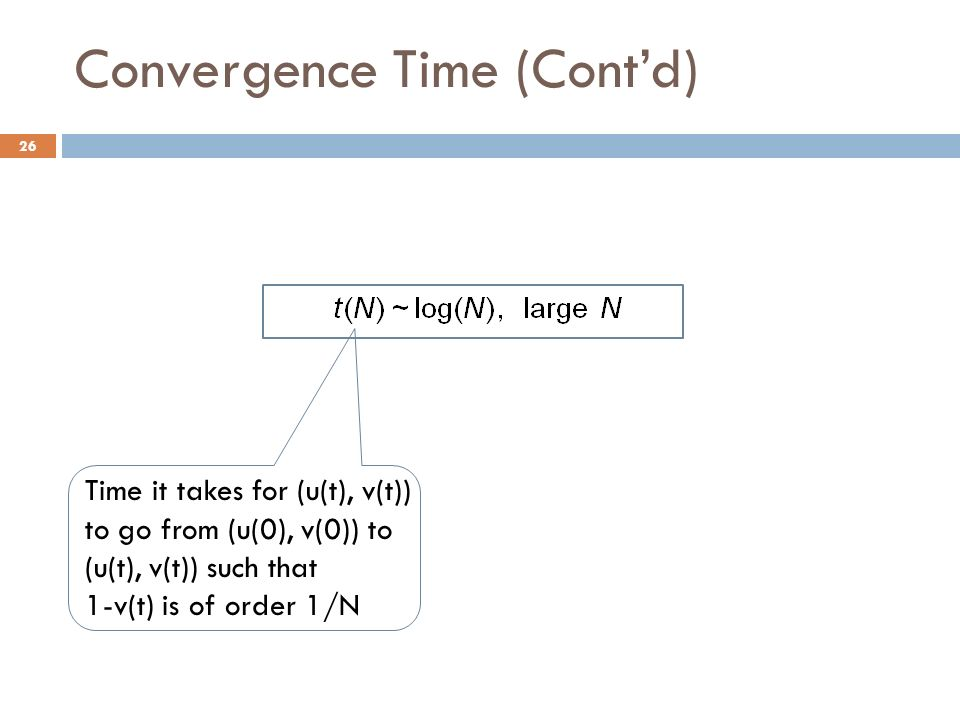 Convergence Time (Contd) 26 Time it takes for (u(t), v(t)) to go from (u(0), v(0)) to (u(t), v(t)) such that 1-v(t) is of order 1/N