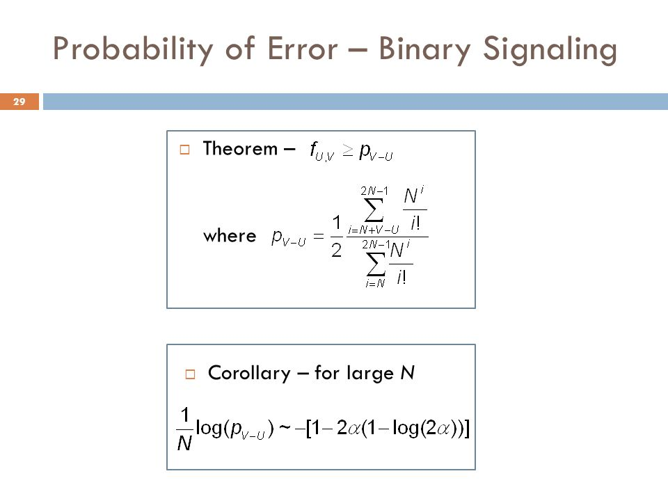 Probability of Error – Binary Signaling Theorem – where 29 Corollary – for large N