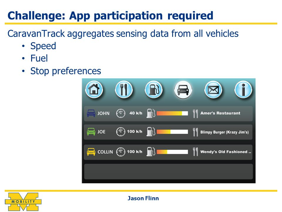 Challenge: App participation required CaravanTrack aggregates sensing data from all vehicles Speed Fuel Stop preferences Jason Flinn