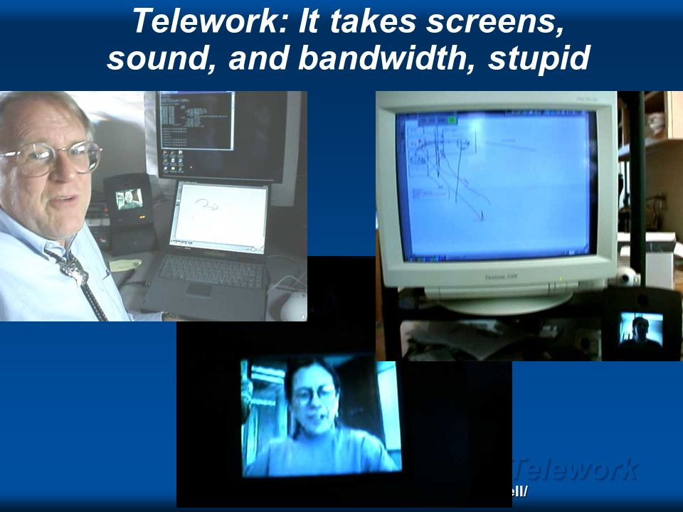Telework Telecollaboration Low latency, high bandwidth for interactivity, feeling, nuances Channels: – speech (including spatialization) – the work I.e.
