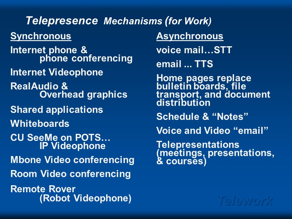 Telework Telepresence: who and what WHO 1:1 person-person communication n:m 2-site-site video conference 1:n-site broadcasting or Mbone narrowcasting distributed group.