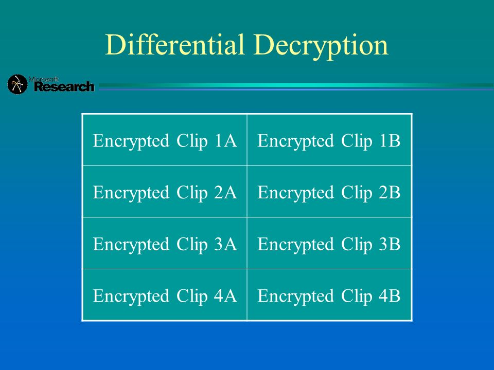 Differential Decryption Encrypted Clip 1AEncrypted Clip 1B Encrypted Clip 2AEncrypted Clip 2B Encrypted Clip 3AEncrypted Clip 3B Encrypted Clip 4AEncrypted Clip 4B