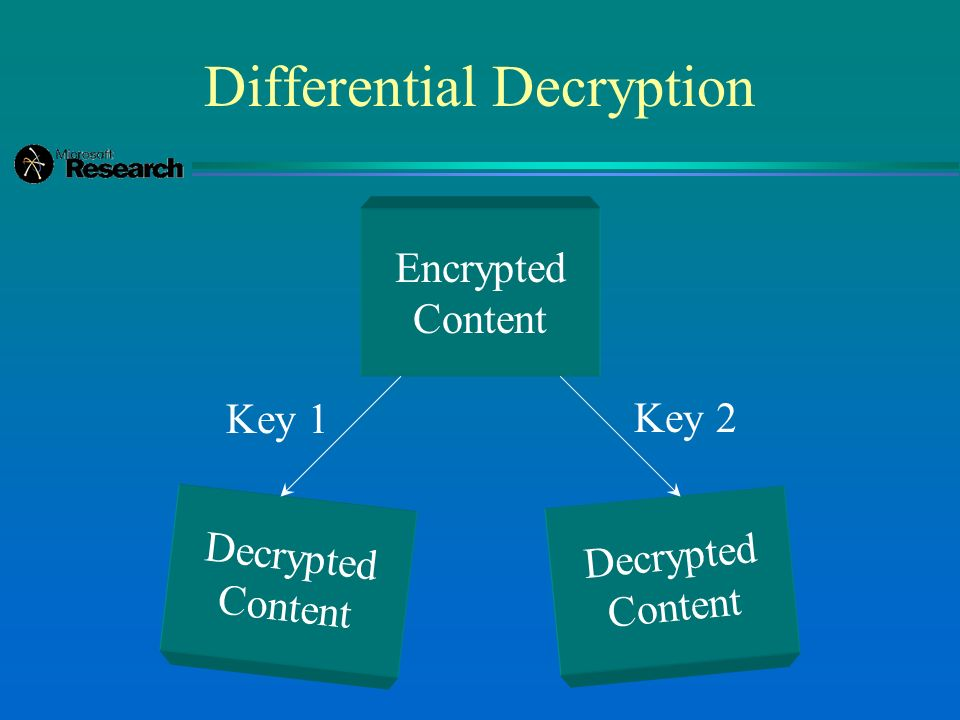 Differential Decryption Encrypted Content Decrypted Content Decrypted Content Key 2 Key 1