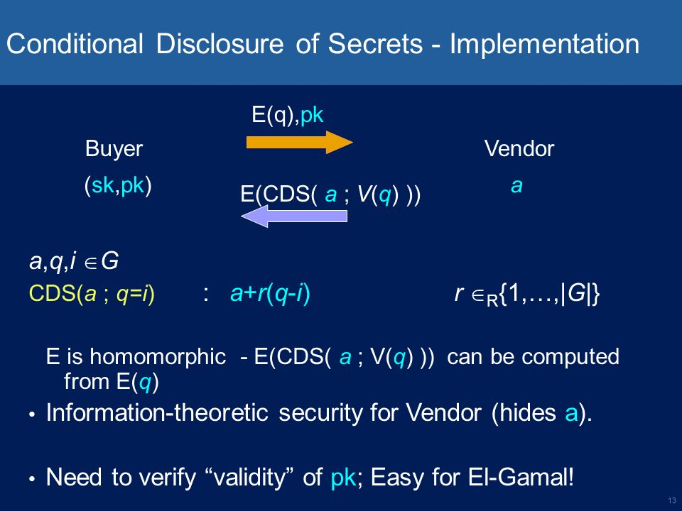 13 Conditional Disclosure of Secrets - Implementation Buyer a,q,i G CDS(a ; q=i) : a+r(q-i) r R {1,…,|G|} E is homomorphic - E(CDS( a ; V(q) )) can be computed from E(q) Information-theoretic security for Vendor (hides a).