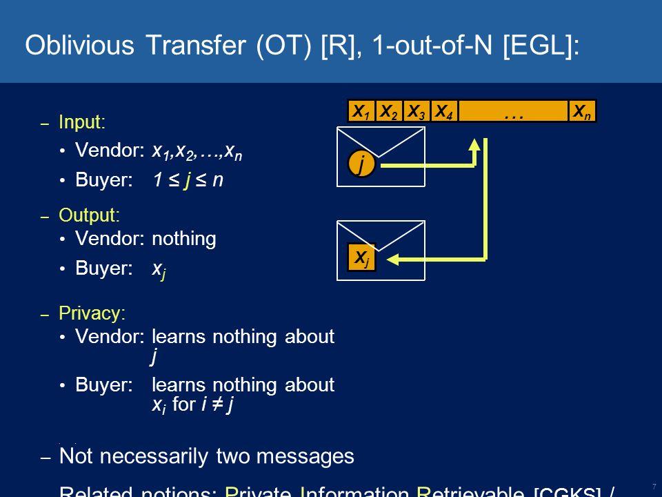 8 Priced OT [AIR] Vendor Buyer Initial payment $ b 0 Set b=b 0 Vendor Buyer Prices: p 1, p 2, … p n Items: k 1, k 2, … k n i kiki b b - p i k0,k0, p 0 =0,