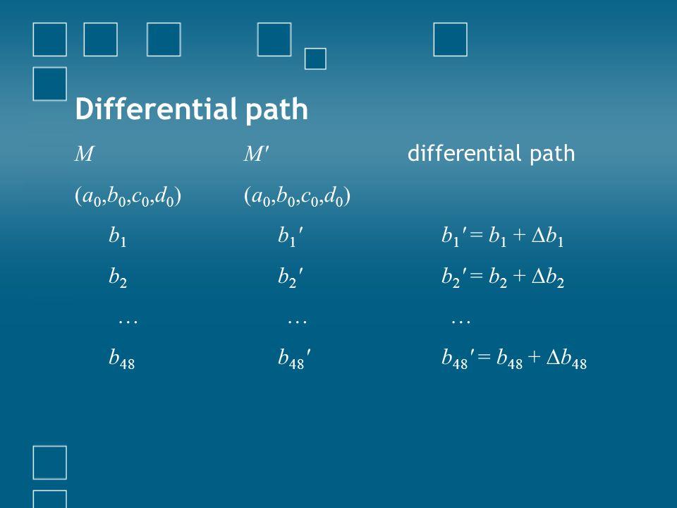 Differential path M (a 0,b 0,c 0,d 0 ) b 1 b 2 … b 48 M' (a 0,b 0,c 0,d 0 ) b 1 ' b 2 ' … b 48 ' differential path b 1 ' = b 1 + b 1 b 2 ' = b 2 + b 2