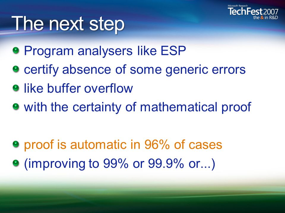 The next step Program analysers like ESP certify absence of some generic errors like buffer overflow with the certainty of mathematical proof proof is automatic in 96% of cases (improving to 99% or 99.9% or...)