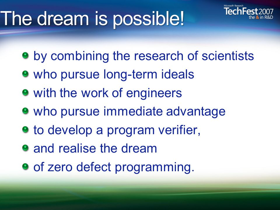 The dream is possible! by combining the research of scientists who pursue long-term ideals with the work of engineers who pursue immediate advantage t