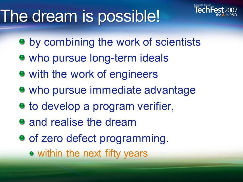 The dream is possible! by combining the work of scientists who pursue long-term ideals with the work of engineers who pursue immediate advantage to de
