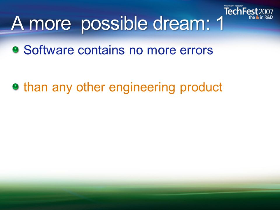 A more possible dream: 1 Software contains no more errors than any other engineering product