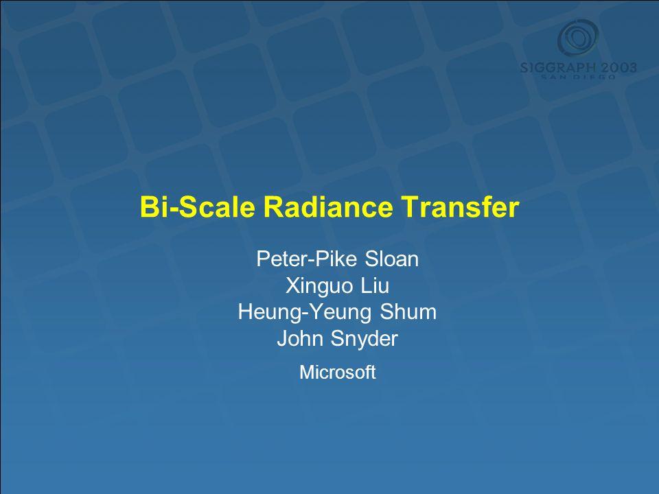Bi-Scale Radiance Transfer Peter-Pike Sloan Xinguo Liu Heung-Yeung Shum John Snyder Microsoft